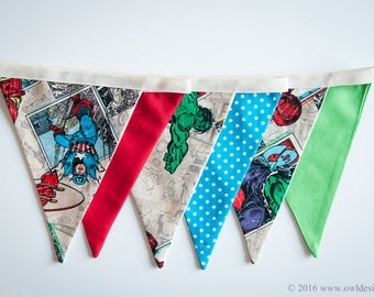 Superheroes banner for your smash the cake decor, Fabric Bunting,  Flags, Bunting, Pennant Banner, cake smash