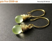 VALENTINE SALE Teardrop Earrings: Wire Wrapped Lemon Lime Clouded Earrings in Gold. Handmade Jewelry.