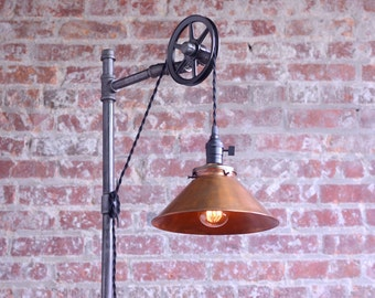 Pulley Floor Lamp - Copper Shade - Edison Bulb  - Industrial Furniture - Steampunk - Barn Light