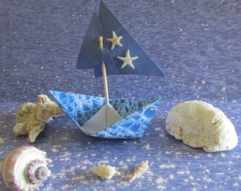 Paper Boat Sail Boat Starfish Beach Wedding  Decor Ocean Bridesmaid Favor Nautical Display Cake Topper