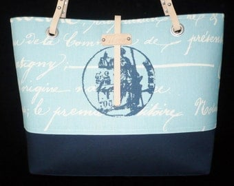 On Sale, Blue Tote, Medium Tote Bag, Script Bags, Purse, Handmade, Shoulder, Ready to Ship, Handbag