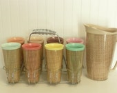 1960s Complete Set of Eight Raffiaware Burlap Straw Weave Tumblers w/ Carrier Caddy Rack and Raffia Ware Pitcher, Melmac, Sherbet Colors