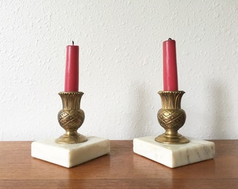 Hollywood Regency Brass Tone and Marble Pineapple Candle Holders