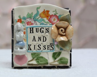 HUGS AND KISSES mixed media, one of a kind mosaic art.