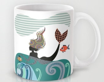 Mermaid Mug, Fish Mug, Mermaid Girl,  Ceramic Mug Mermaid, Marine Life,  Unique Coffee Mug, Mermaid Gift, Cool Coffee Mug
