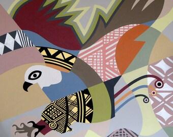 Eagle Painting,  Pop Art Bird, Abstract Bird Art, Original Canvas Painting Eagle, American Eagle Painting, Bald Eagle Painting