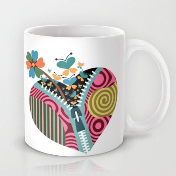 Love Mug,  Heart Mug, Lover Gift, Butterfly Mug, Flower Mug, Gift For Her, Valentine Gift,  Coffee Lovers Gift