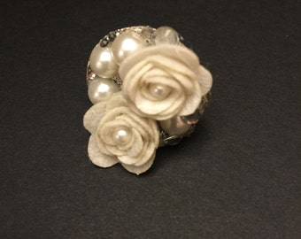 Ivory felt rose, faux pearl and bling adjustable ring