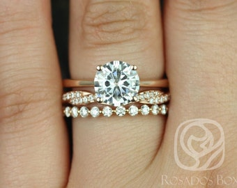 Skinny Flora 8mm,Twyla, & Petite Naomi 14kt F1- Moissanite and Diamonds TRIO Wedding Set (Other metals and stone options available)