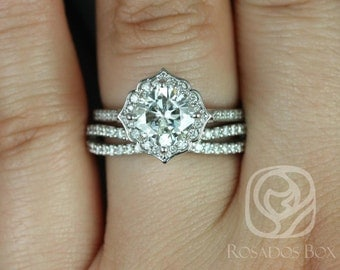 Rori 7mm & Skinny Lima 14kt White Gold Cushion F1- Moissanite and Diamond Halo WITHOUT Milgrain Wedding Set (Other options available)