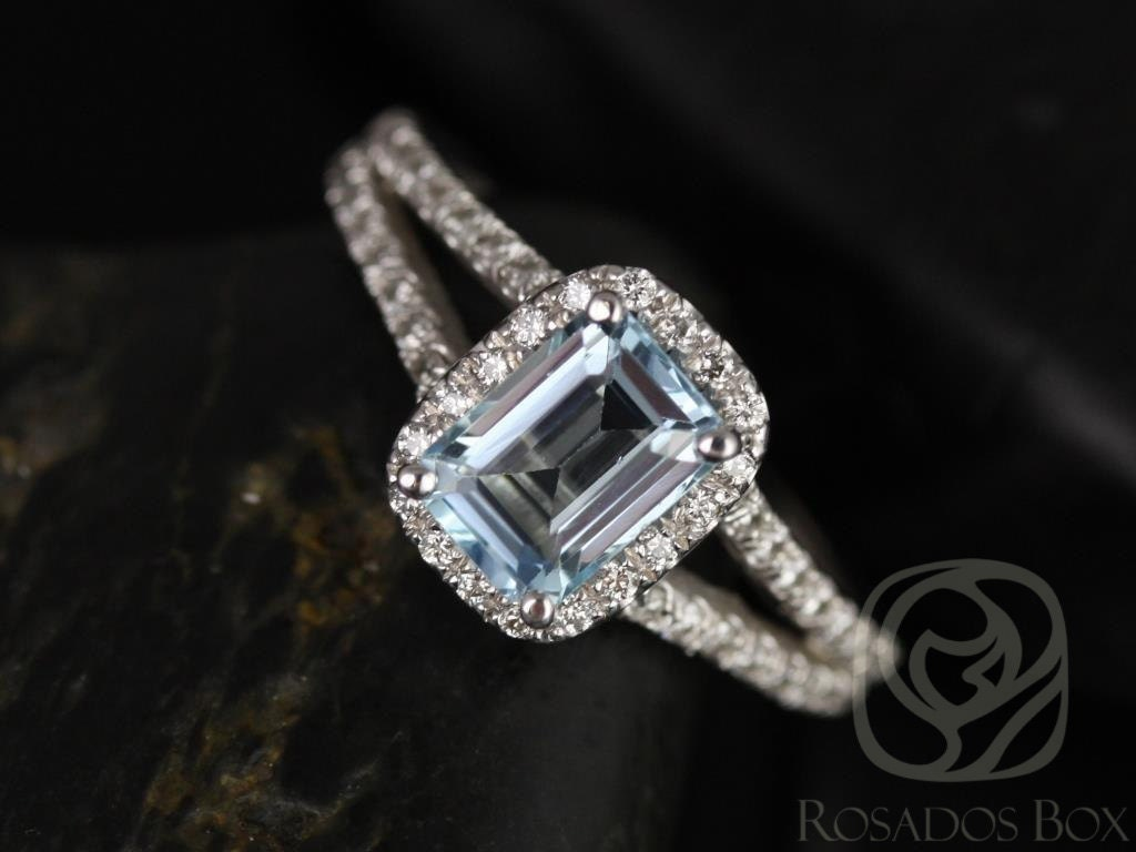 Rectangle Aquamarine Soitaire Ring