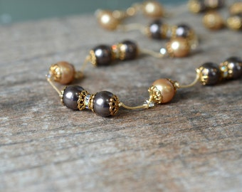 Hand knotted pearl necklace Champagne and brown beaded necklace Earthtone knotted silk necklace Office jewelry Mother of bride or groom