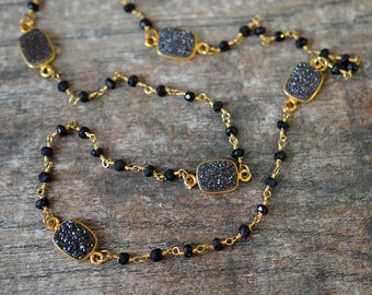 Sophisticated druzy station necklace Long black spinel gemstone Delicate beaded Rosary Chain Necklace Drusy Crystal Quartz