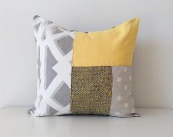 Modern Colour Block Patchwork Pillow Cover, 18x18, P/Kaufmann, Contemporary Patchwork, Mustard Yellow, Grey, Pattern Block