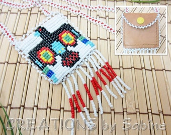 Thunderbird Pouch Necklace Beaded Beads Fringes Fringe Native American Eagle Bird Design Coin Purse Snap Button Vintage FREE SHIPPING (465)