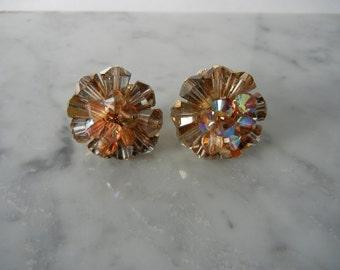 Vintage Earrings, 1950s Earrings, Cluster Earrings, Flower Earrings, Vendome, Clip On Earrings, Retro 50s Earrings, Retro Earrings, 50s