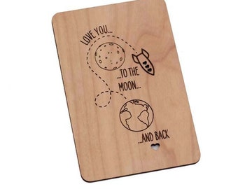 Love you to Moon and Back Wood Laser-Cut Card