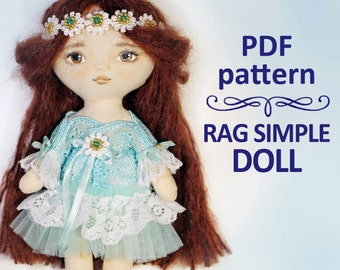 PDF Pattern Rag simple girl doll 7 inches
