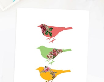 Vintage Floral Bird Wall Art Print Vintage Flower Botanical Birds Poster Pink Green Yellow Home Decor Poster Artwork Sparrow Rose Roses