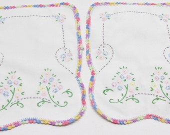 Vintage Embroidered Dresser Scarves, Pastel Flowers, Pink Blue Yellow Green, Cotton Crochet Edging in Rainbow Colors