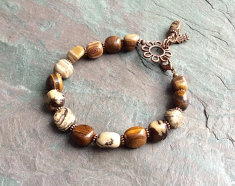 "Jasper Stone Bracelet / Natural / Stone / Bead / Tan / Brown / Striped / Antique Copper / Flower / Charm - 8"" long - B11"