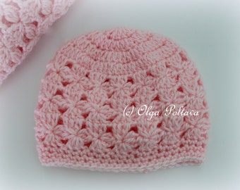 Pink Clusters Baby Hat Crochet Pattern, Baby Beanie, Size 0-3 Months, Easy Crochet Pattern