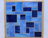 Blue stained glass mosaic trivet