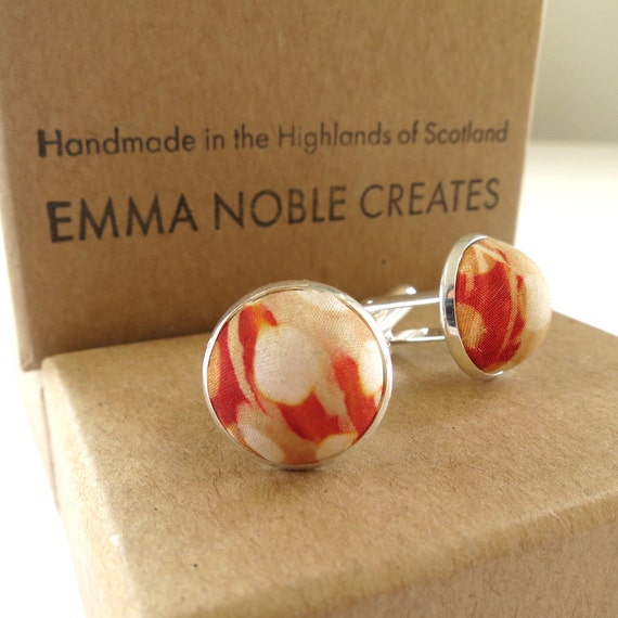 Hand-printed silk covered cufflinks (cuff links) for men. Light copper. Ideal for wedding, occasion, party.