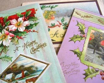 3 Antique Victorian Post Cards - Vintage Christmas Post Cards - Victorian Posey Ephemera - Vintage Ephemera - Vintage Greeting Cards