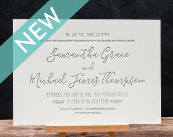 Blooming Letterpress Wedding Invitation Suite - DEPOSIT