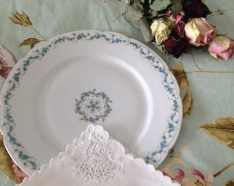 antique shabby chic austrian porcelain dinner  plates blue and white shabby dishes vintage cottage chic dishes