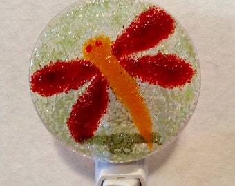 RED DRAGONFLY LUMINARY NightLight - Fused Glass Night Light
