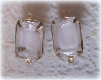 Crystal Givre White Clear Rhinestone 24MM Connector 2R Brass Setting
