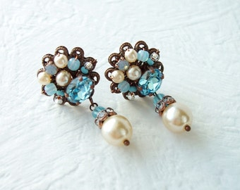 Gift for Her. Aqua Blue Earrings. Rhinestone Jewelry. Blue Rhinestone Earrings. Stud Earrings. Blue Jewelry. Birthday Gifts