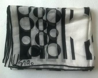Vera Eclipse Black White Silk Scarf