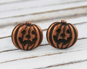 Boo - antique copper post earrings, pumpkin, Halloween, jack-o-lantern earrings