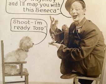 Vintage RPPC Seneca Camera Mfg Co Ad Real Photo Postcard