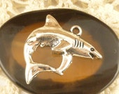 Great White Shark Charm Antique Silver  (4) - S31
