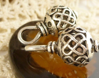 3D  Large Hole Ornate Ball Hollow Drop Charm Pendant, Antiqued Silver (4) - S166