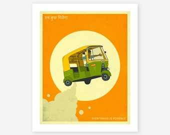 EVERYTHING IS POSSIBLE, Retro, India, Pop Art for your home decor, Giclee Fine Art Print