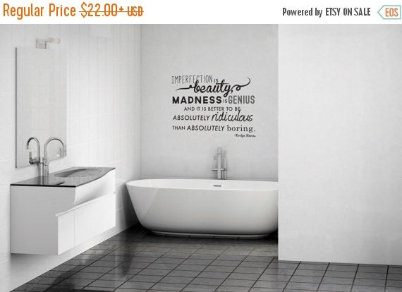 ON SALE Imperfection Marilyn Monroe Quote Wall By Danadecals
