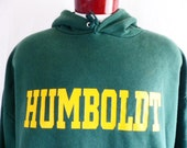 Go HSU lumberjacks vintage 80's Humboldt State University forest fleece graphic hoodie sweatshirt yellow gold block letter logo pullover xxl