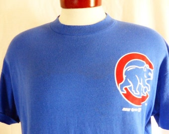 vintage 80's Chicago Cubs MLB baseball sports team solid royal blue graphic t-shirt red white mascot logo print bike made in usa large