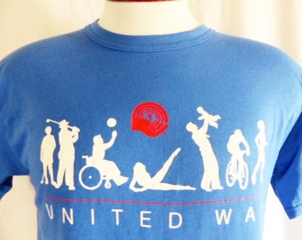 vintage 80's United Way charity blue graphic t-shirt red white fitness exercise aerobics white red logo crew neck unisex union made in usa
