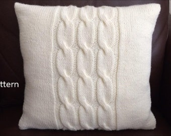 PDF Pattern, How To Knit A Cable Pillow 16in x 16in