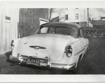 Old Photo Rear View Car License Plate 1950s Photograph snapshot vintage Automobile