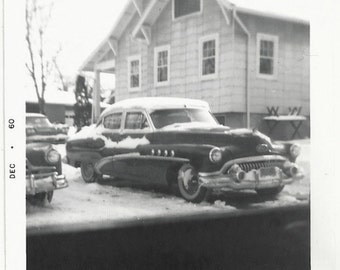 Old Photo Car With some Snow on it House 1960s Photograph snapshot vintage