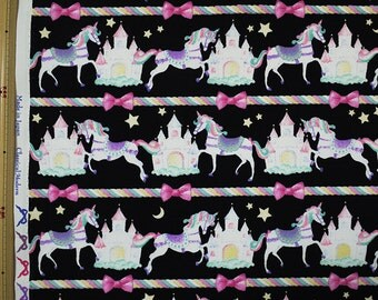 Classical and Modern Japanese Fabric  / Unicorn Oxford Fabric Black - 50cm x 110cm