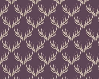 Fat Quarter Deer Stag Antlers on Deep Blackberry 100% Cotton Quilting Fabric