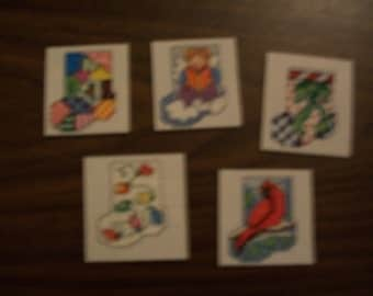 CHRISTMAS CROSS STITCH set of 5 mini stockings ornaments or gift tags new